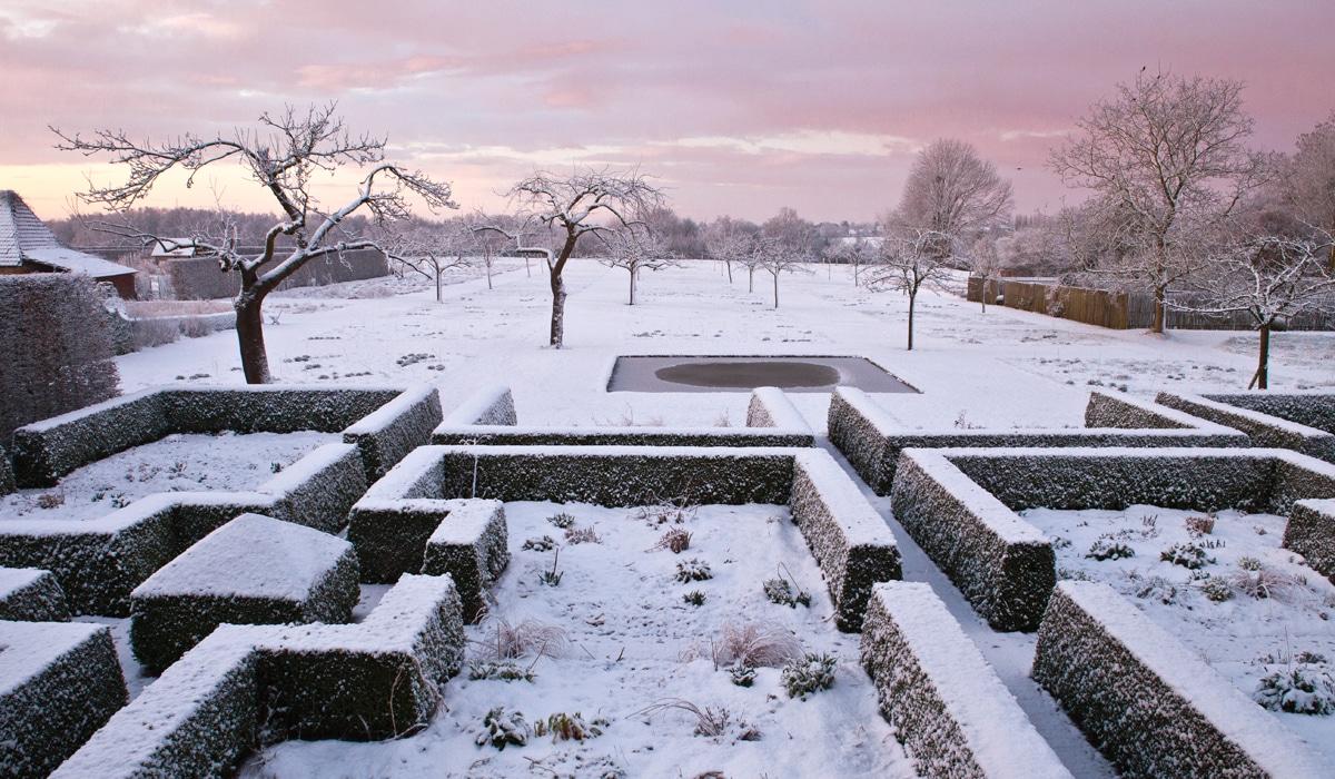 Jardin aménagé en labyrinthe